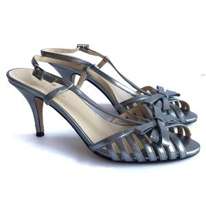 Kate Spade Silver Metallic Strappy Heels Sandals 6